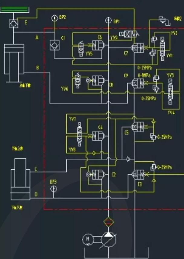 32-200四柱液压机电路图图片