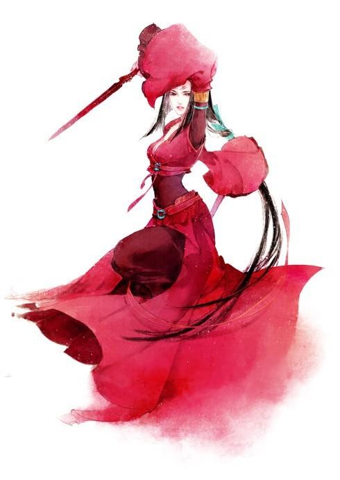 求红衣红发红伞动漫少女 竖