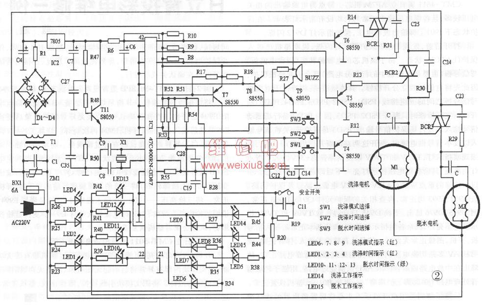 自动洗衣机的电脑板结构示意图图片