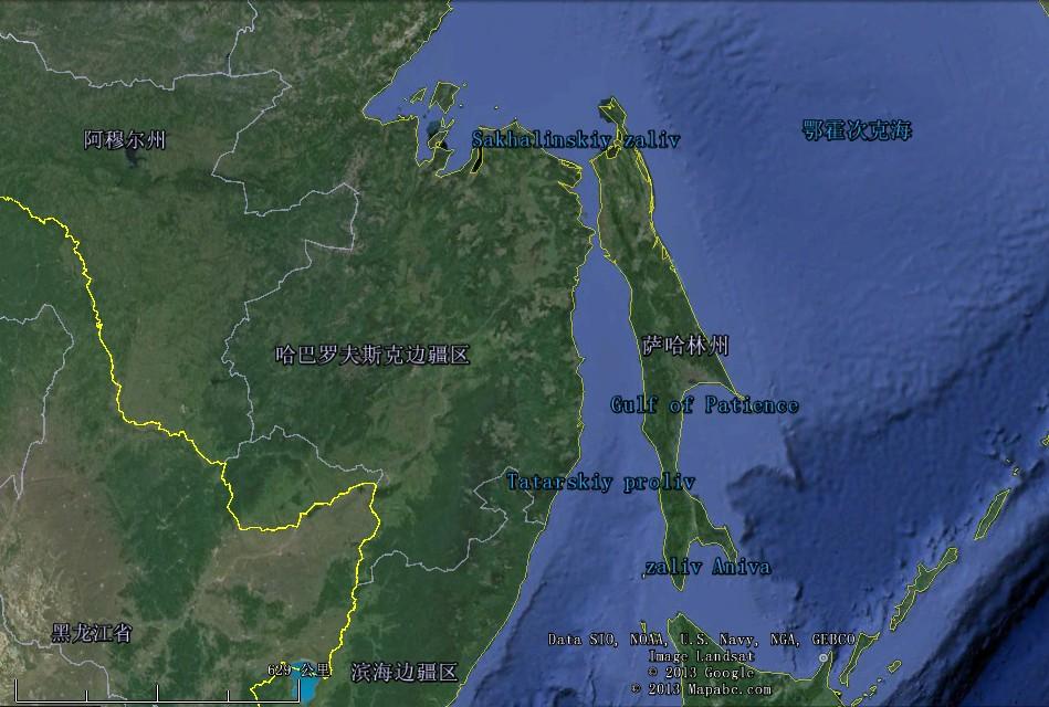 卫星地图 为什么库页岛是这样的