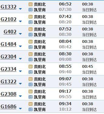 贵阳到黔东南火车