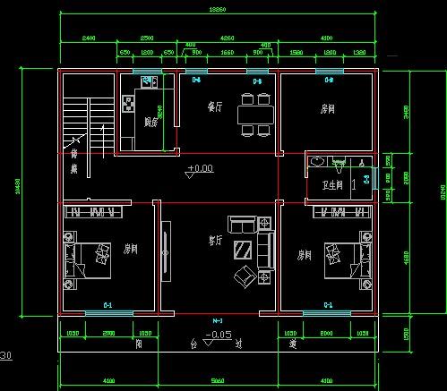 农村盖房子设计图,10米宽,15米长,怎么设计 要三个卧室,一个厨