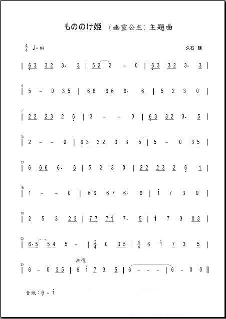 24口复音口琴c调的简谱图片