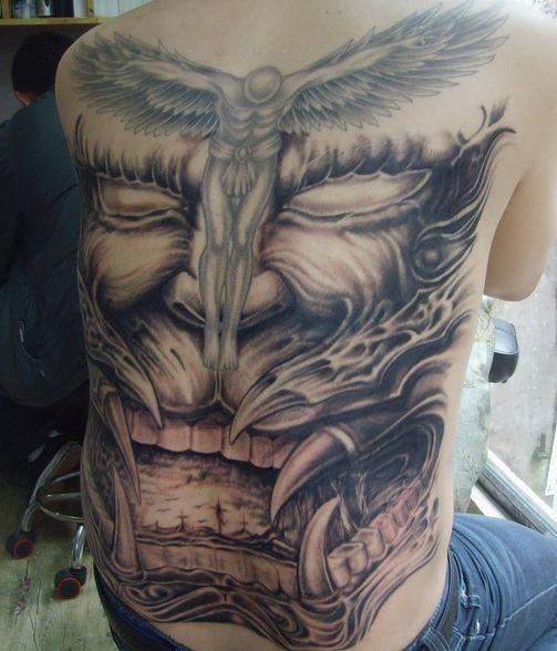 天使恶魔图纹身分享展示图片