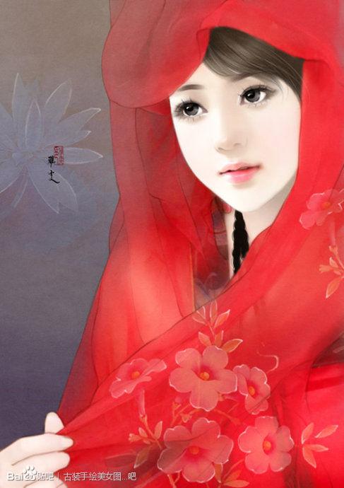 手绘古装 红衣美女