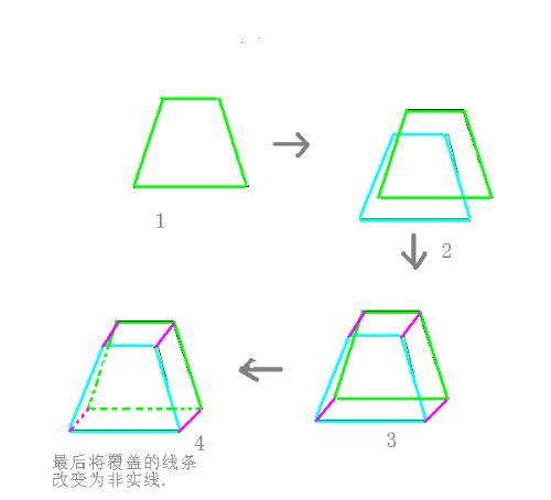 梯形立体图怎么画图片