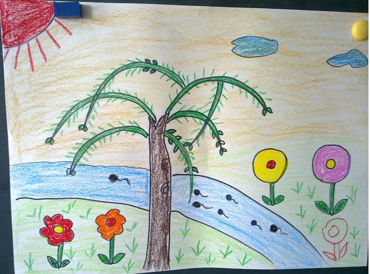 春天的图画大全简单 最简单的春天儿童画图片图片