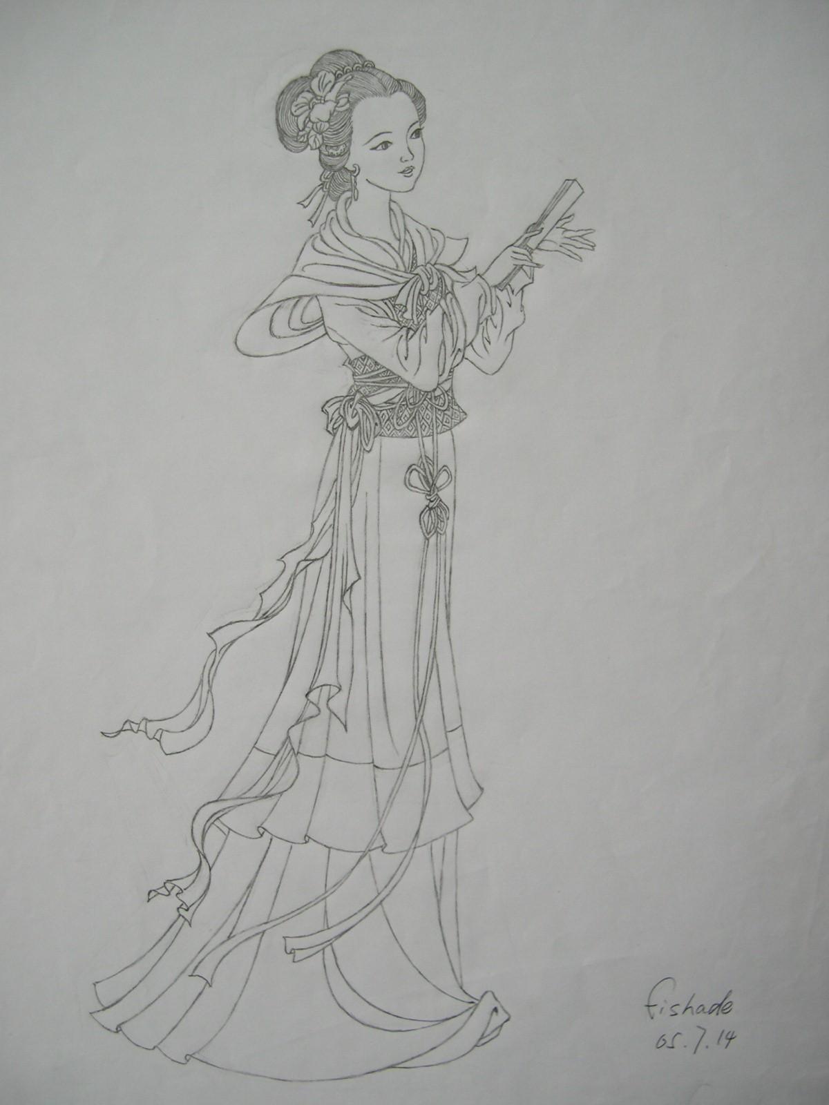 求画古典美女的线条画