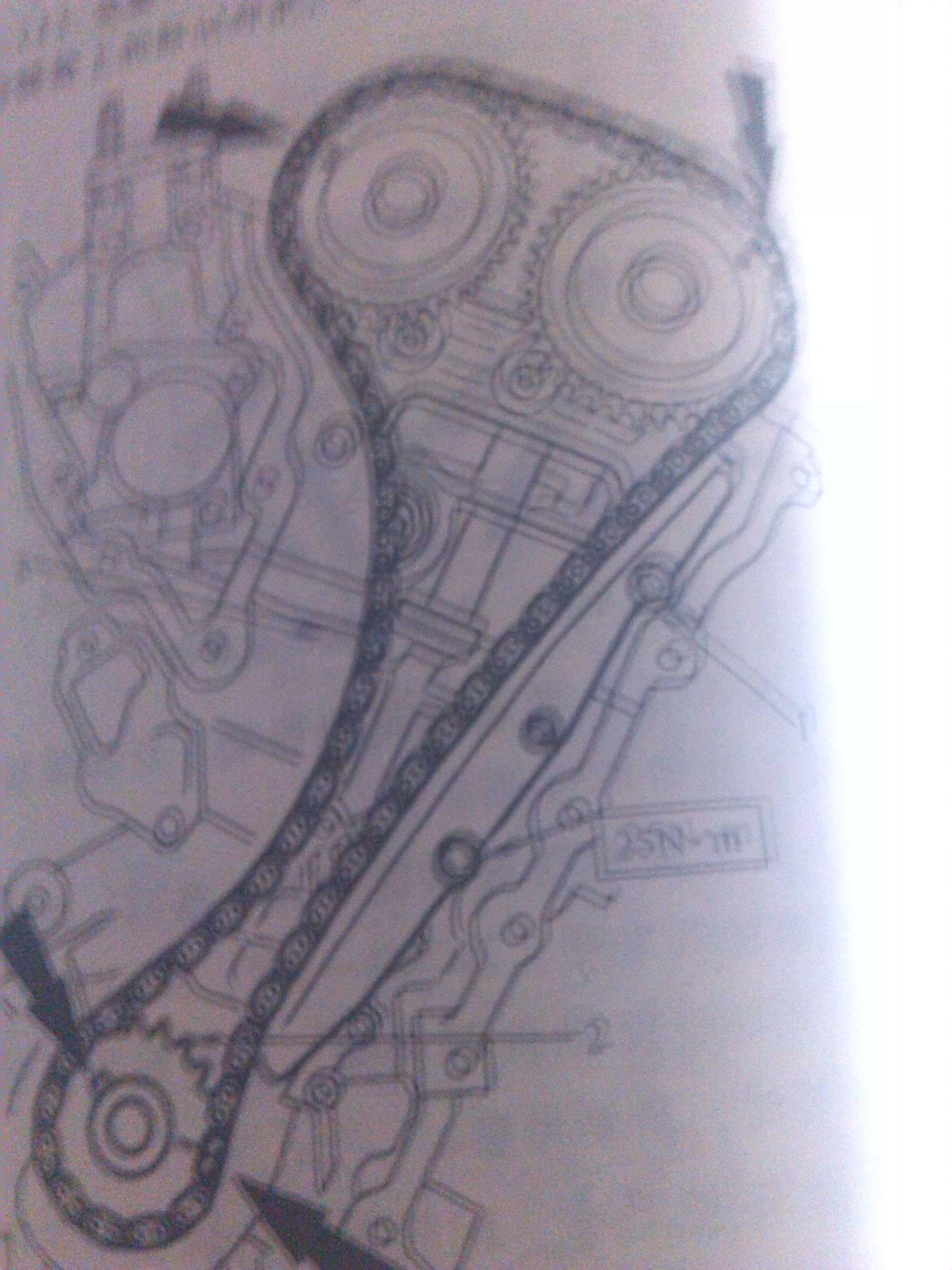 深色链条和链轮标记对齐 福特蒙迪欧2.3l3发动机正时链条 高清图片