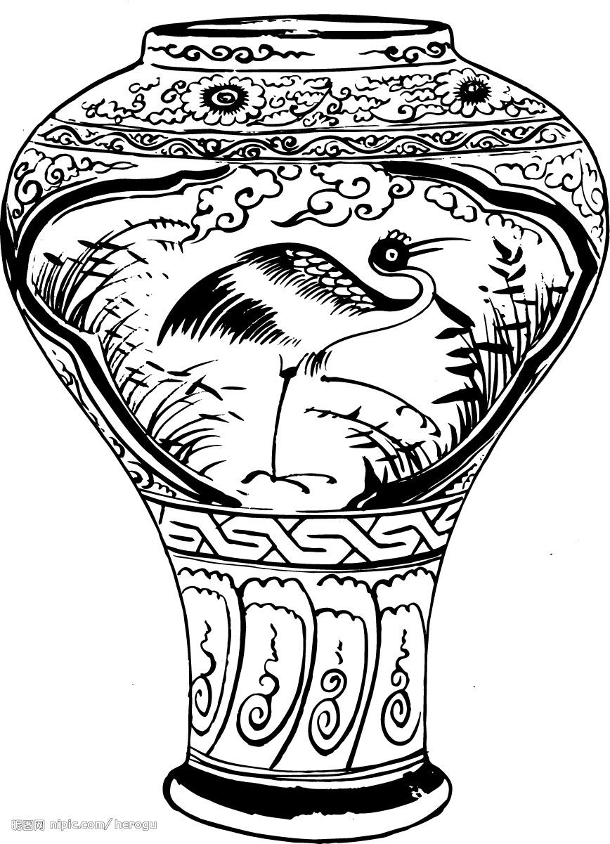 我建议:花瓶面上的图案采用青花瓷画法,即白底蓝(青)色线描,画的边框图片