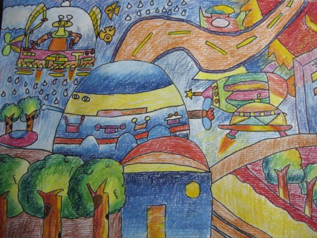 科学幻想绘画图片大全; 校园科技节科幻绘画比赛结果 少先队图片