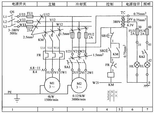 普通车床电气原理图中主轴点解不能反转控制?图片