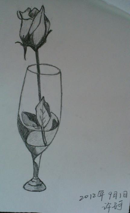 铅笔画玫瑰花带花瓶   求玫瑰花的 素描 作品   玫瑰花设计图__绘画书法