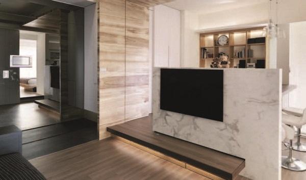 设计家-装修供略-居家王; 求客厅隔断出小卧室的好方案,半高的电视墙图片