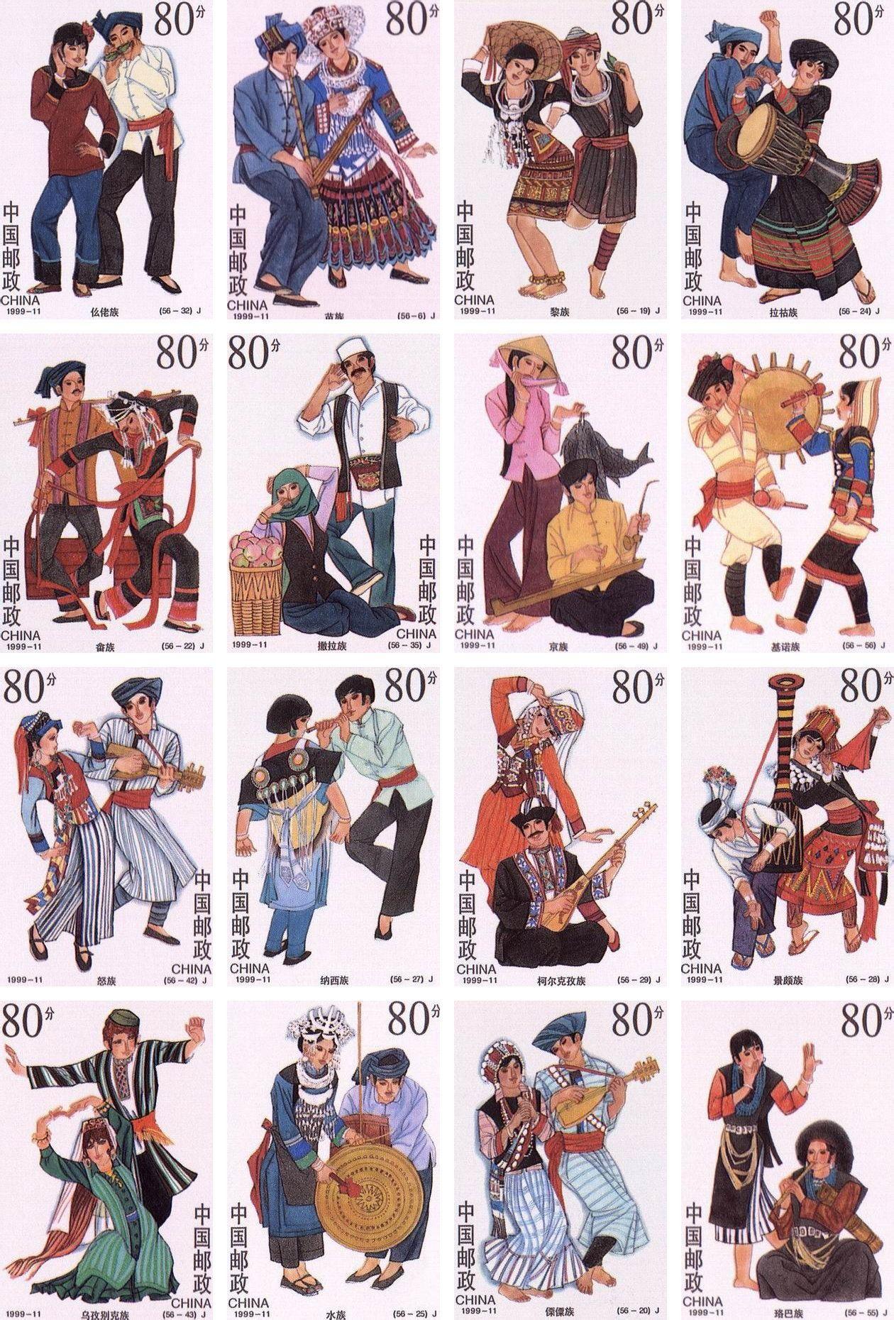 56个民族服装卡通图片-少数民族服装图片卡通-民族娃娃图片-56个民族图片
