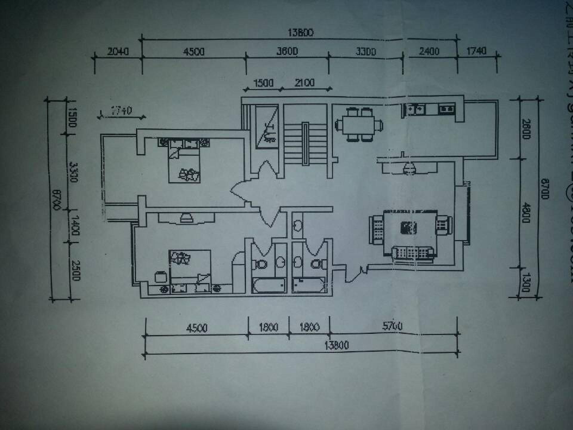 如图 画一张cad图纸 求大神帮忙 两室两厅户型图cad 高清图片
