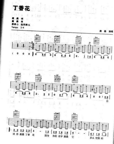 以2弦11品,和4弦9品为滨海开头滑音的《丁香花》吉他谱医院路无尾丁香图片