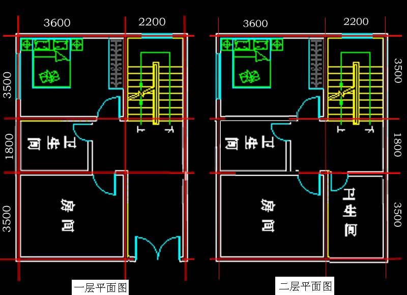 求长11米,宽7米,只能前后采光的三层半自建房设计图