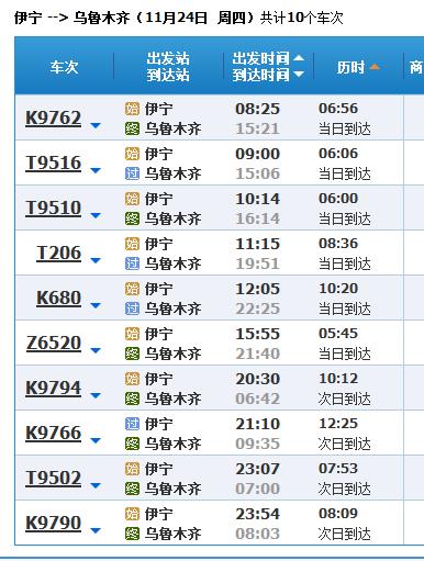 乌鲁木齐到伊犁火车票