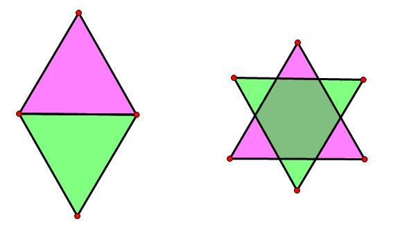 再连接那四个小三角形的各边中点,就有16个了 两个等边三角形可以拼成图片