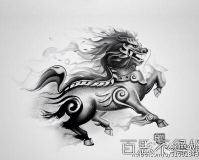 铜钱麒麟纹身手稿分享展示 (398x321)图片