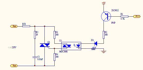 想用moc3061与双极可控硅做控制电路,求高手指导下电路!图片