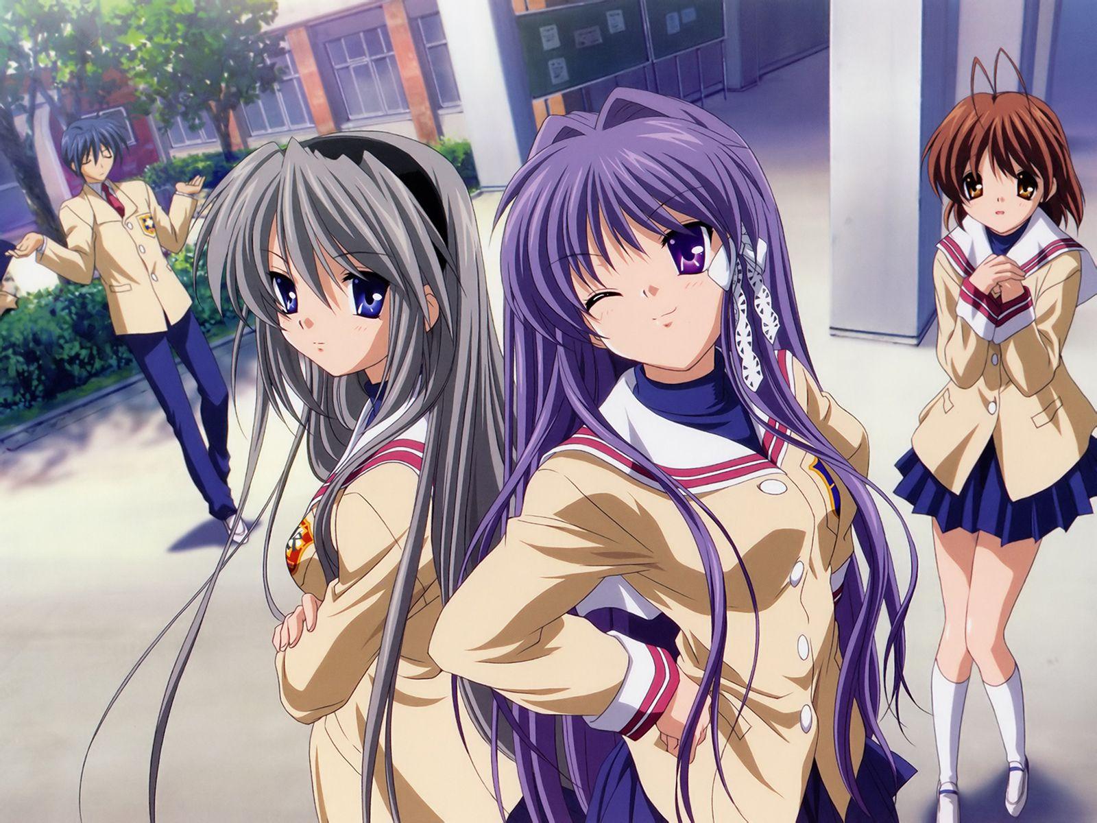 一部日本动漫校园的两个美女都是很长的头发一个灰色