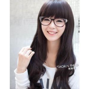 女生直下斜刘海长发发型图片