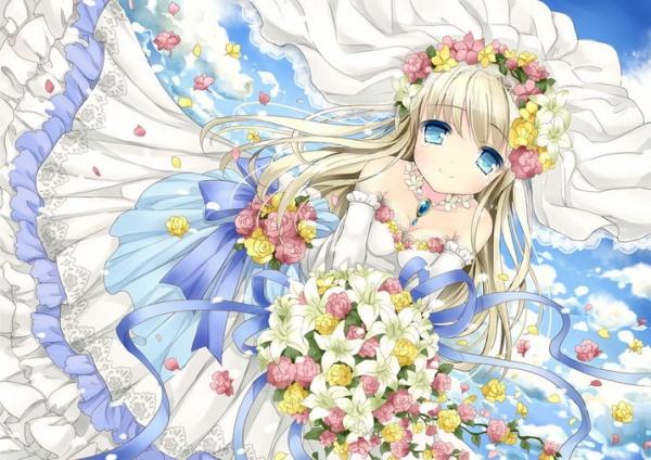 求动漫少女穿着的婚纱图谢谢!