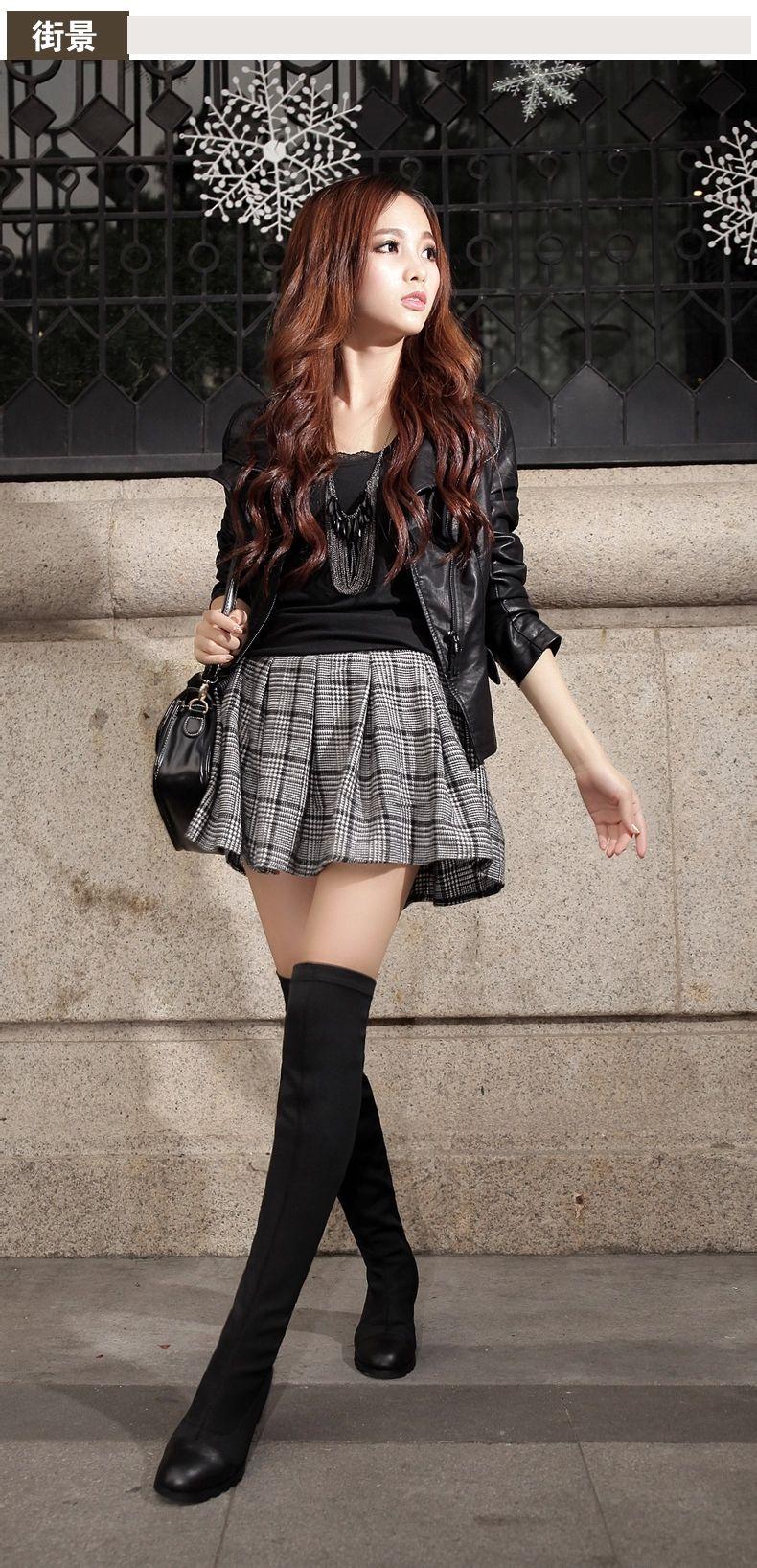 160cm女生穿长靴怎么搭配衣服好看图片图片