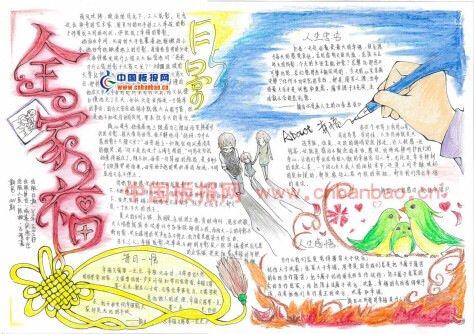 幸福家庭敬老爱亲的手抄报,竖版的图片