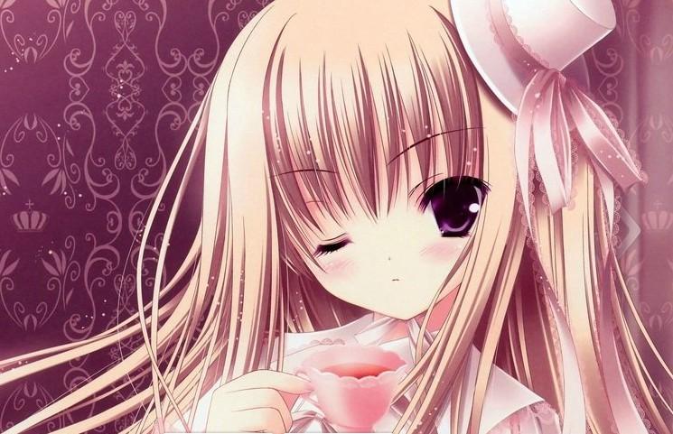 求粉色长发动漫少女的图片