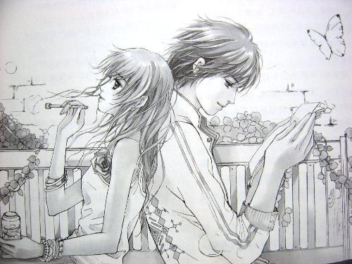 卡通人物素描铅笔画图片