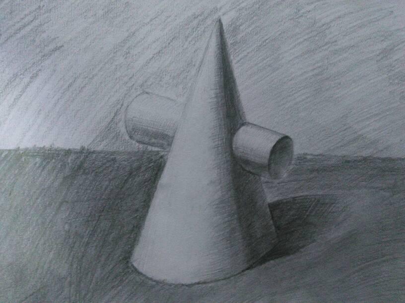 画几何立体图形,我就是学美术的,无论学什么都必须从素描基础入门.图片
