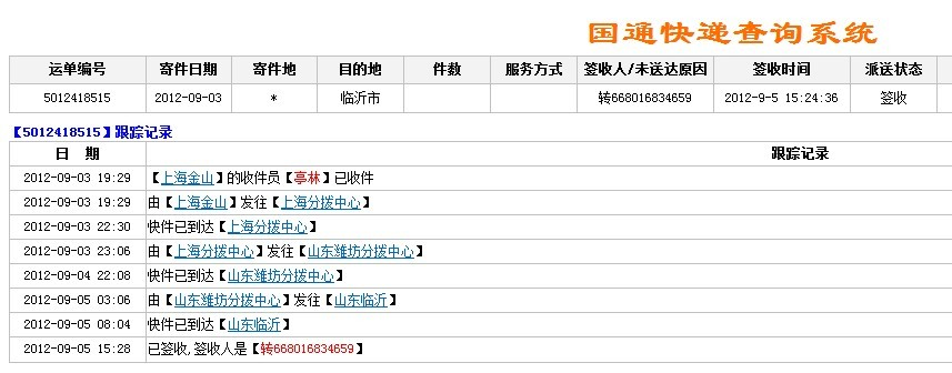 155 2014-02-28 国通快递帮忙查下物流 单号5040193180 1图片