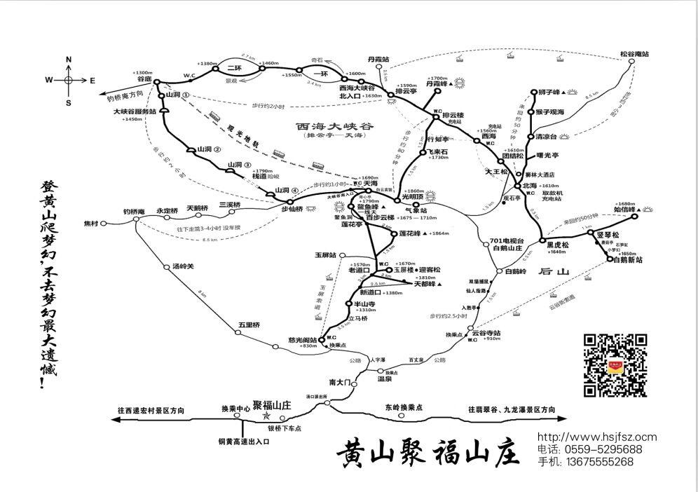 黄山风景区上山路线图