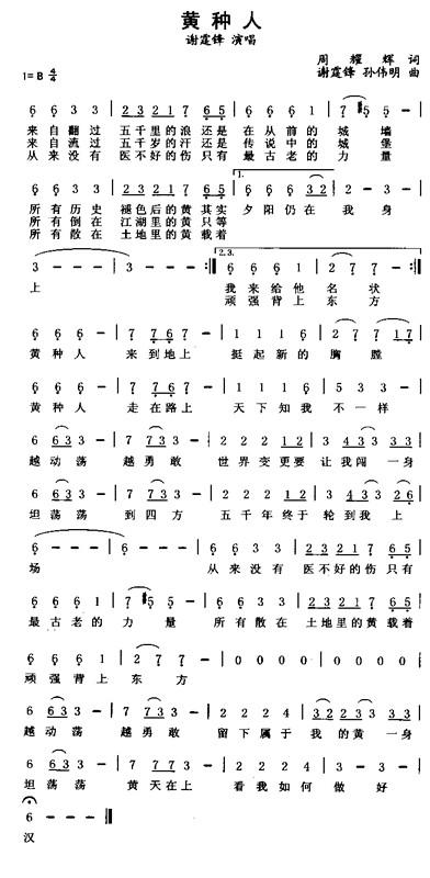 口风琴简谱黄种人图片