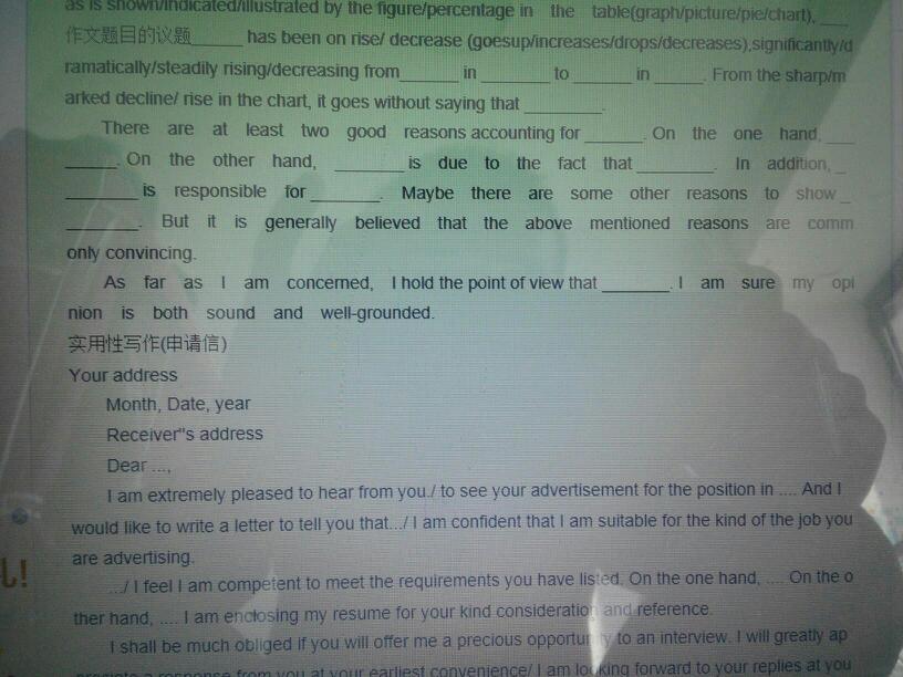 求一篇英语四级v作文作文高中洗霸模板上海签图片