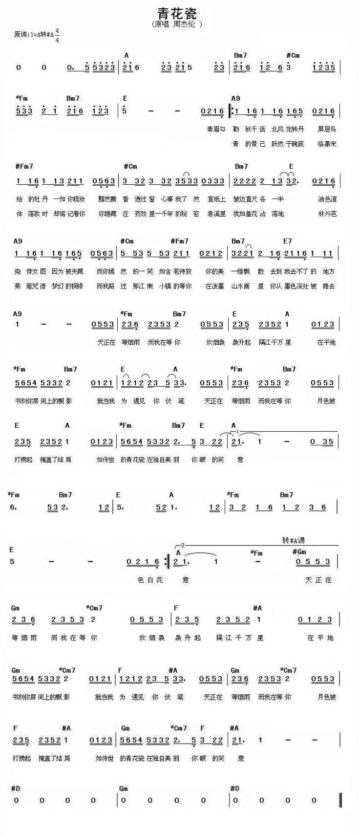 青花瓷电子琴简谱图片