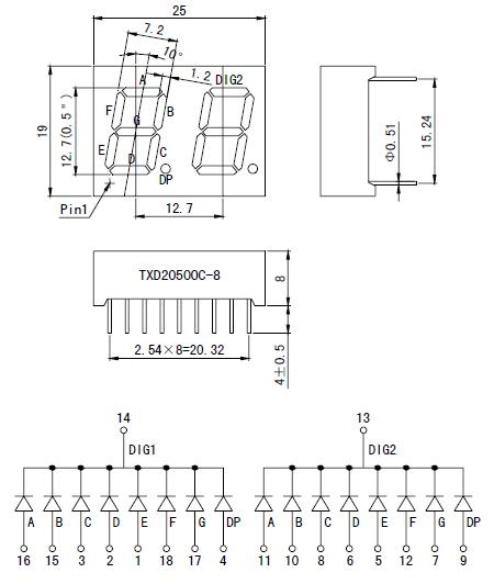 2位数码引脚图_求一个两位共阴极数码管引脚图,在线等