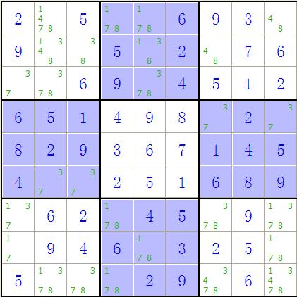 5 8  5 7 8 1 2 9 4 6 3  到你图示这步就需要假设了,比如右上九宫格图片