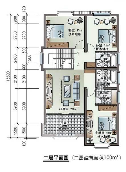 农村二层住宅房屋设计图7.5x