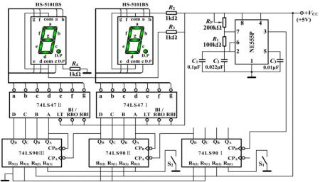 这是制作数字秒表的电路图吗?如果是的话,请写出具体制造的步骤.图片