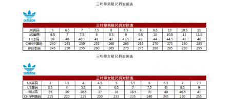 adidas三叶草鞋子尺码问题图片