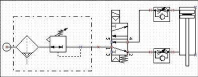求用一个电磁阀控制一个气缸上下运动的原理图图片