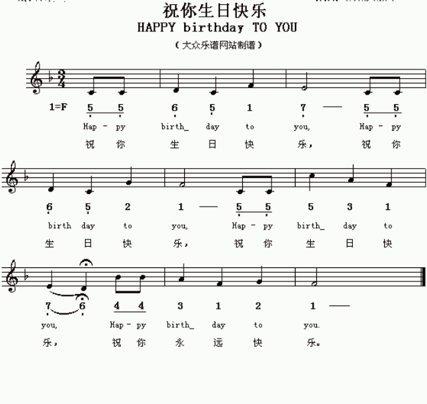 口琴谱.生日歌.是祝你生日快乐歌.求谱图片