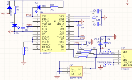 pl2303实验板的疑问,内有电路图及pcb板图图片