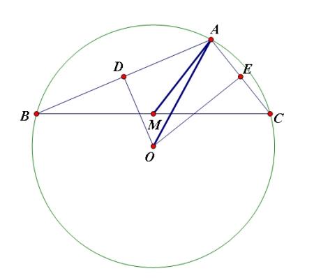 o为三角形abc的外心,ab=4,ac=2,∠bac为钝角,m是bc的中点,则向量am×