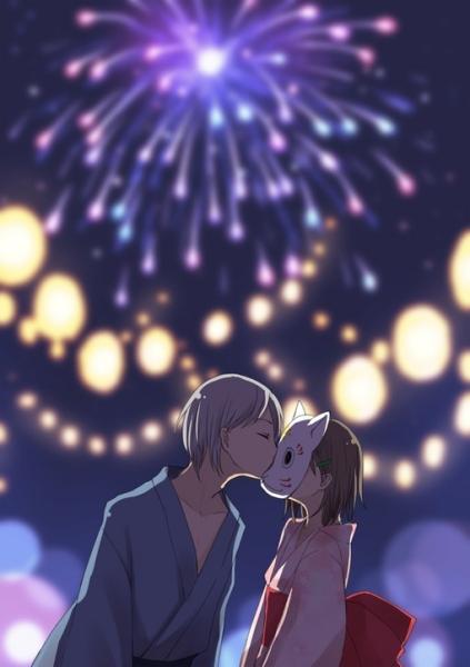 萤火之森放风筝的情侣头像图片