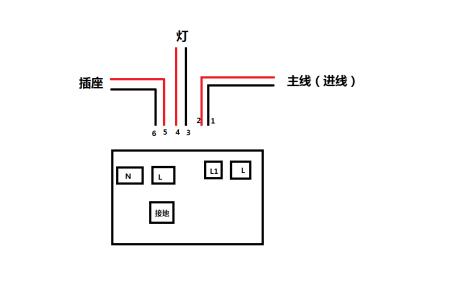 提问者采纳火线2与5接两个l灯火线4接l1零线1与6接灯3与n没有接地